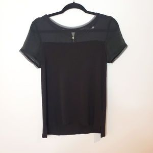 H&M Black Sheer Panelling T-Shirt With Gold Zip